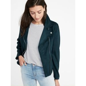 Old Navy | Teal Faux Suede Moto Jacket